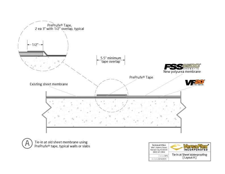 Waterproofing Detail Sheets : Versaflex tie in at sheet waterproofing